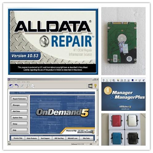 Alldata v10.53 mitchell a richiesta 5 mitchell manager plus 3in1 con 750 gb hdd software di riparazione auto migliore prezzo