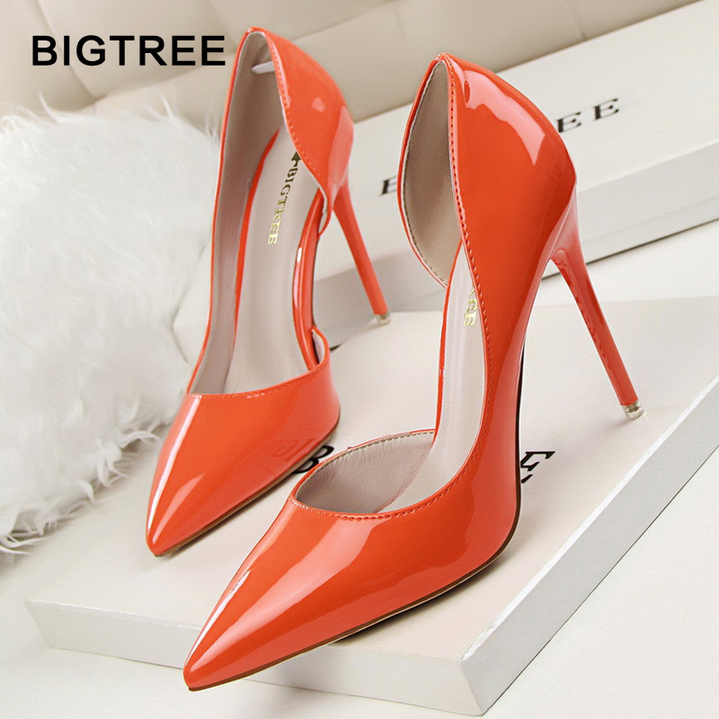 BIGTREE Women Pumps Patent Leather Shallow High Heels Women Shoes Pointed Toe High Heels Wedding Shoes 12 Colors floral embroidered heels women pumps solid pointed high heels toe shallow fashion high heels 10cm shoes women wedding shoes