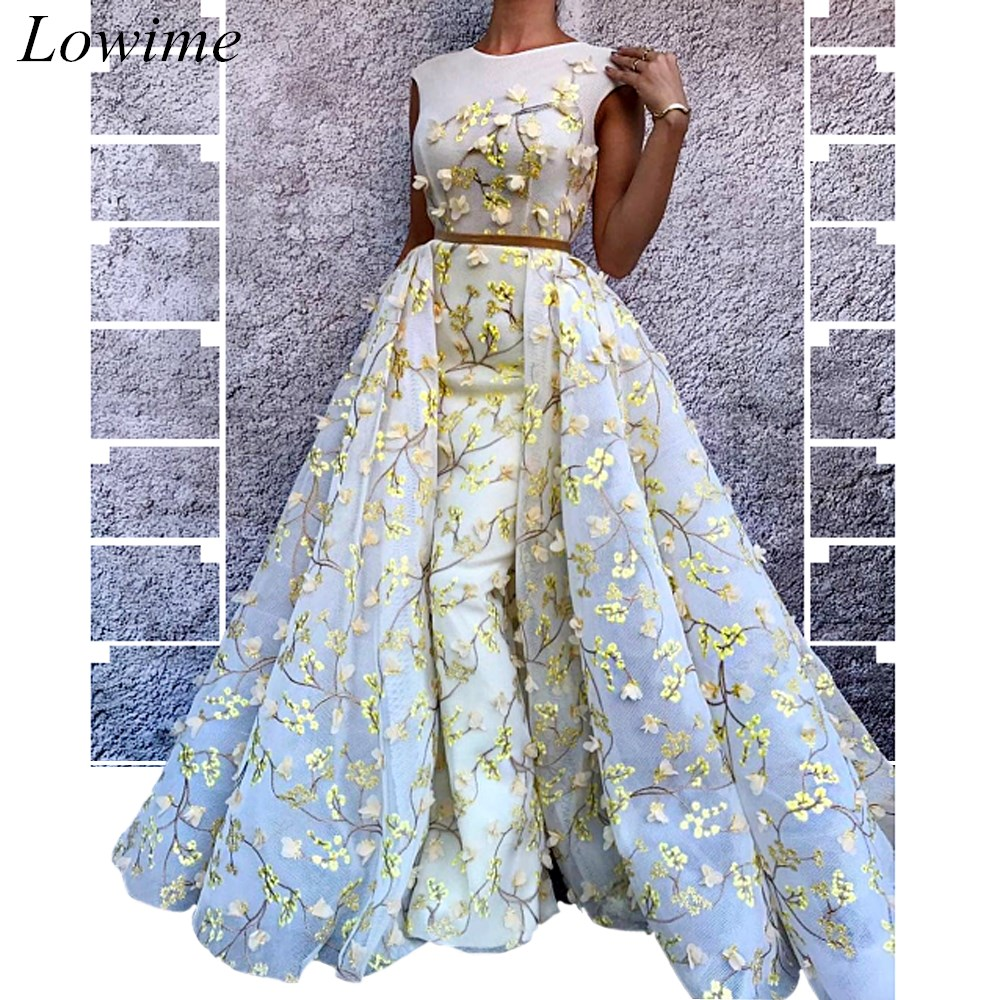 African Style Two Pieces Prom Dresses 2019 Mermaid Sleeveless O-Neck Long Evening Prom Party Gowns With 3D Flowers robe de soire(China)
