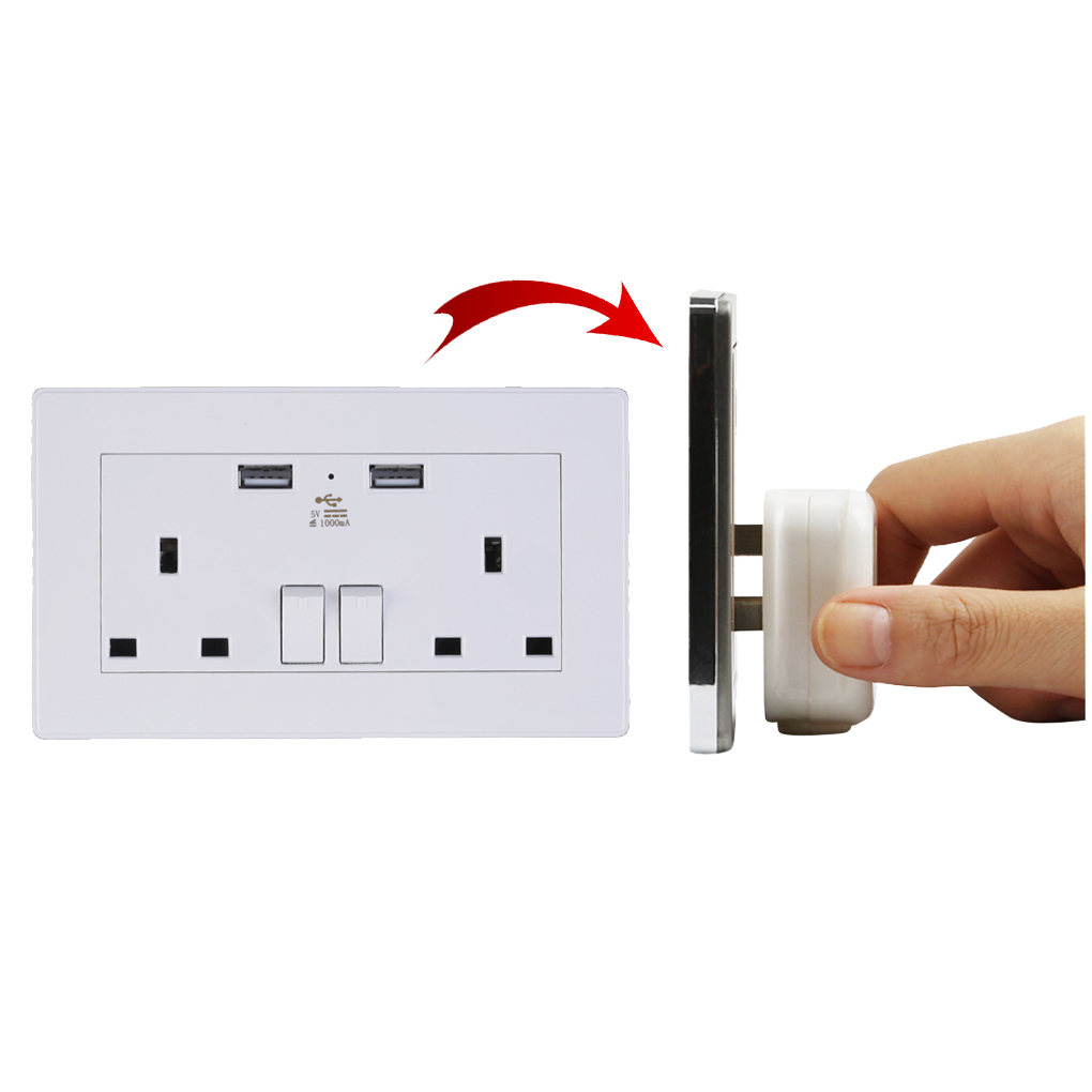 2 Gang Wall Socket Dual USB Port Outlets Plate Panel Power Supply UK Plug 250v 10a double 2 gang uk us wall plug socket with 2 usb charger port outlets