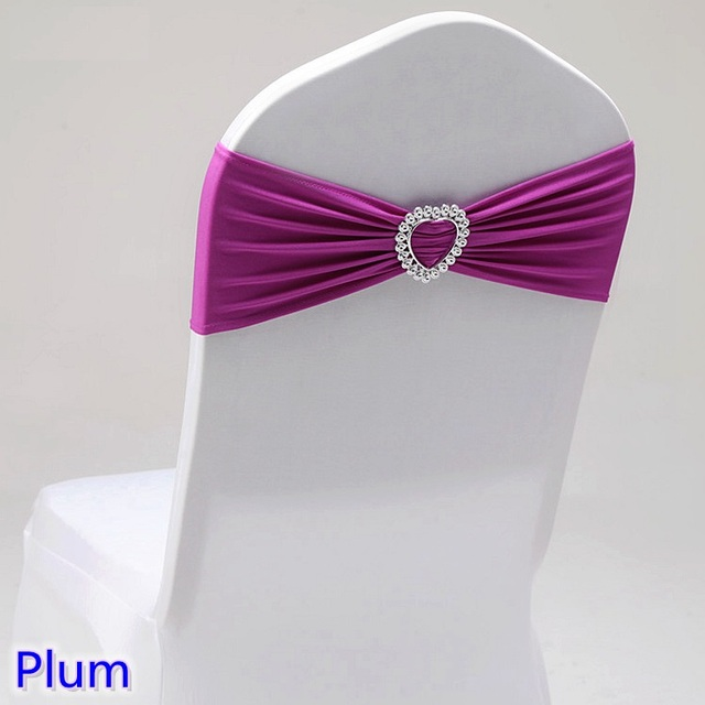 Plum Colour Spandex Sash With Heart Buckles Universal Lycra Chair For Wedding Decoration Band