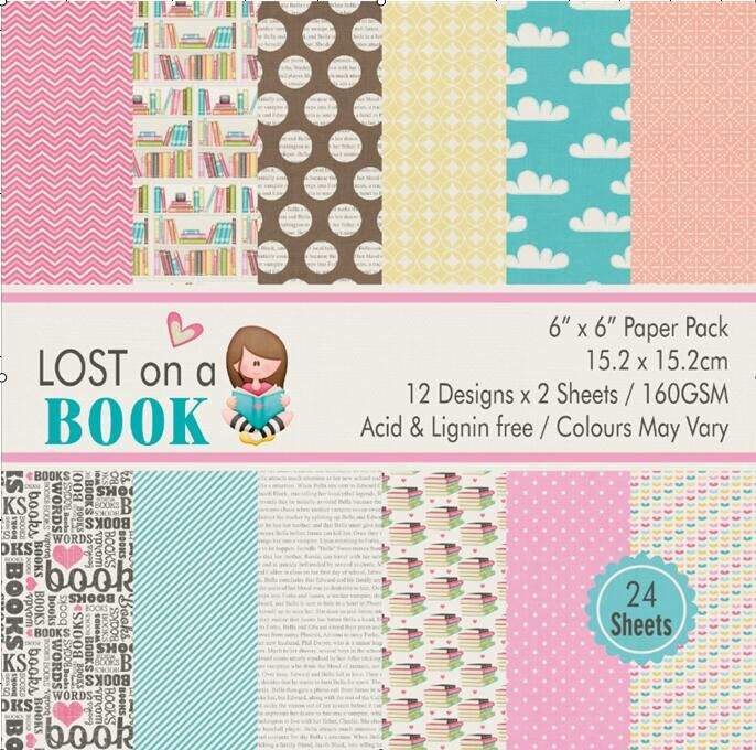 Lost on a book style Scrapbooking paper pack of 24 sheets handmade craft paper craft Background pad craft