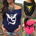 2016 Fashion Full Sleeve T-shirts Female T shirts Pokemon Go Carton Letter Print Top Slash Neck Women t shirt 2017 Z05
