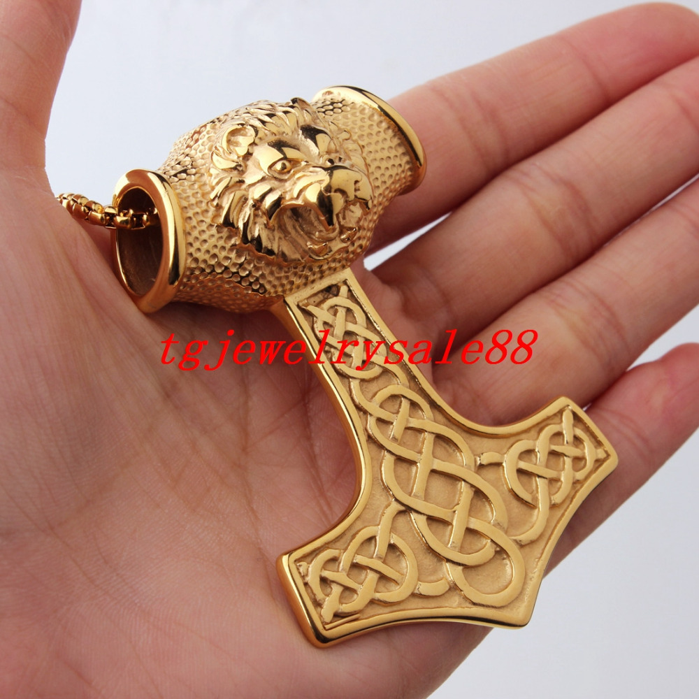 Fashion Gold Huge Viking Thor Hammer Pendant Men's Stainless Steel Lion Head Necklace Jewelry 67g Free Box Chain 24""