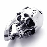 Fashion Jewelry 316L Stainless Steel Necklace Black Crack Skeleton Teeth Could Move Pendant Necklaces 20819