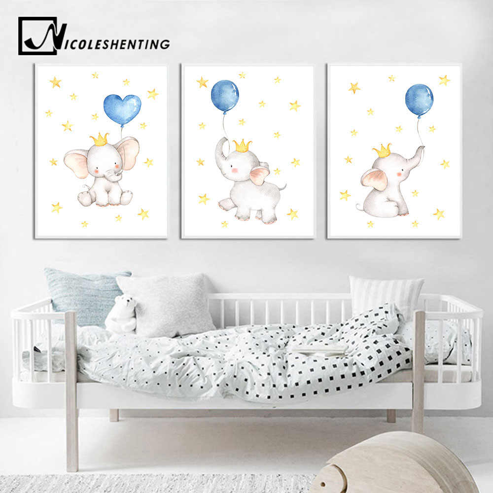 Watercolor Elephant Canvas Painting Baby Nursery Wall Art Poster and Print Nordic Kids Decoration Picture Children Bedroom Decor