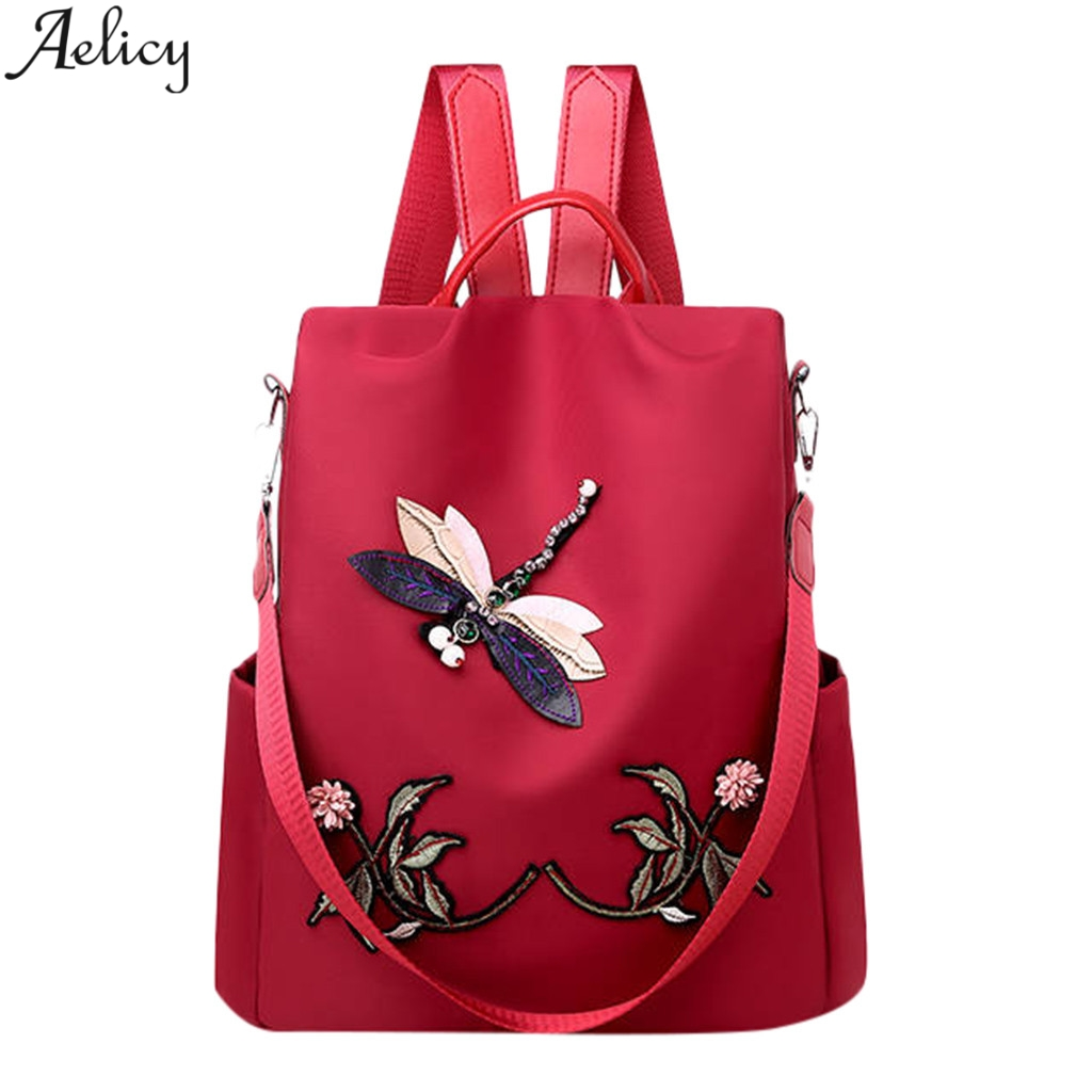 Aelicy Fashion Dragonfly Flowers Appliques Oxford Backpack Large Capacity Computer Bag Traveling Shoulder Backpack Mochila New