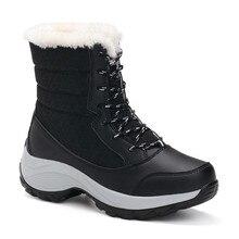 Winter Warm Cotton Padded Shoes Women Heat Warm Plush Swing Shoes Lace-up High Top Platform Patchwork Snow Shoes