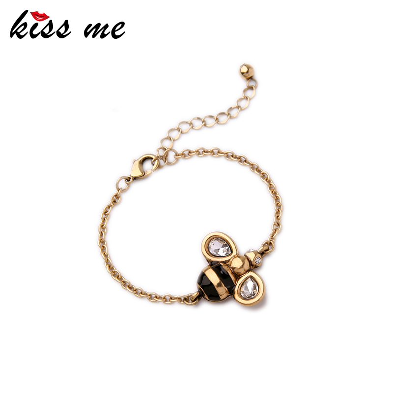 KISS ME Brand Alloy Bee Charm Bracelet Female Popular Cute Jewelry for Girls Color Antique Gold Color Bracelet