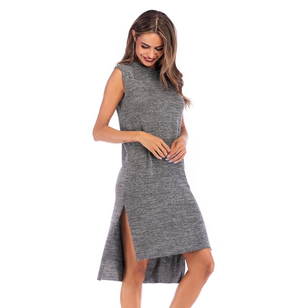 93fc1f02942 YYFS новый сезон  весна-лето с круглым вырезом сбоку разделение для женщин обтягивающее  платье без рукавов миди женский Vestidos 2019 повседневное .