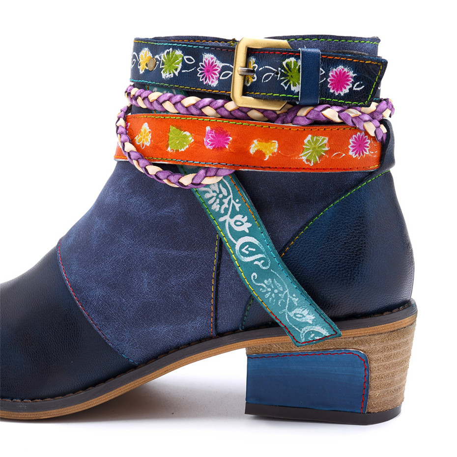 Vintage Bohemian Women Ankle Boots Shoes Side Zip Med Heels Ladies Shoes  Booties Genuine Leather Short Boots Shoe Woman (19)