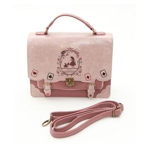 Image 2 - Alice In Wonderland Shoulder Bags axes femme vintage student schoolbag playing cards Silhouette handbag leather bag