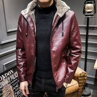 Anbican Fashion Red Hooded Leather Jacket Men 2018 Winter Thicken Fleece Faux Leather Warm Coat Men Casual Winter Leather Jacket