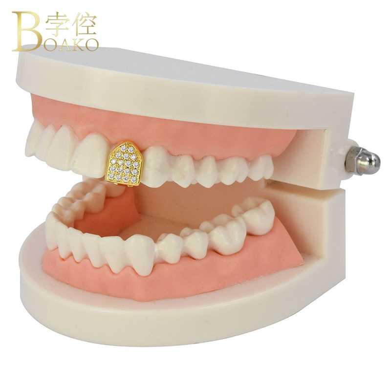 BOAKO Топ Bling Рэппер стоматологические грили хип-хоп мужские грилли однозубные грилли кепки мужские золотые зубы грилли кепки s Панк ювелирные изделия Z5