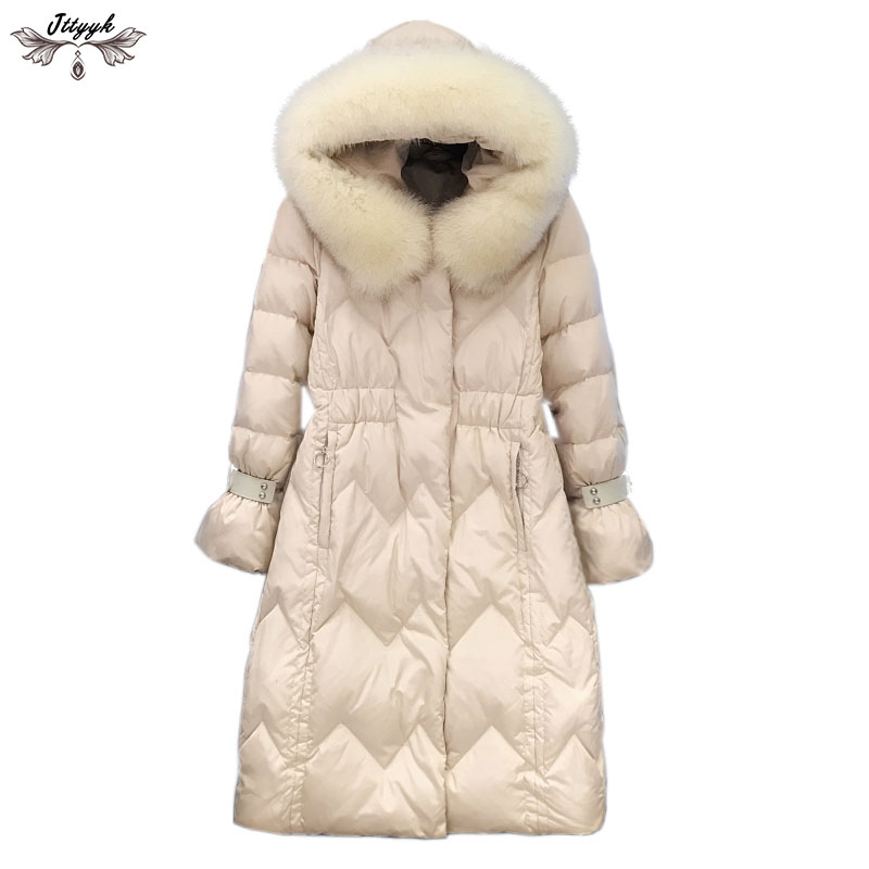 f0d91953b185 2019 Winter Jacket Women Thick Down Coats Long Parka Natural Fox Fur Collar  White Duck Down