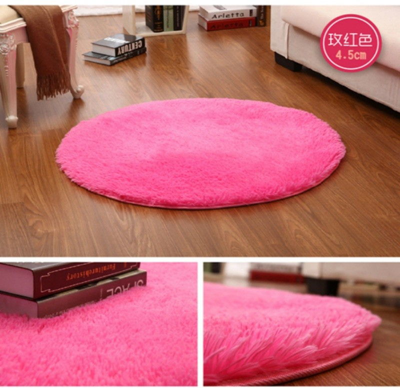 Independent Drop Shipping Pink White Circle Yoga Mat Solid Computer Cushions Rugs Round Carpets For Living Room Lovely Bed Rug Tapete 60-160 Home & Garden