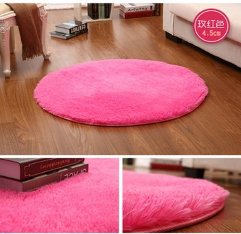 drop shipping Pink White Circle Yoga mat Solid Computer Cushions Rugs Round Carpets For Living Room Lovely Bed Rug Tapete 60-160 image