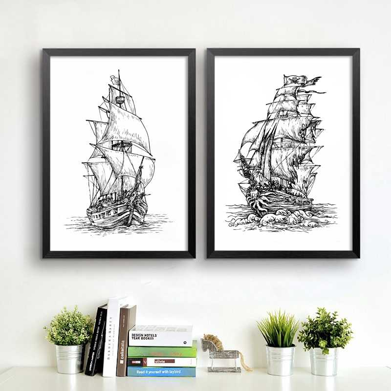 Hand Drawn Pirate Ship Art Print Wall Pictures , Retro Poster Pirate Ship Canvas Painting Home Living Room Vintage Decoration