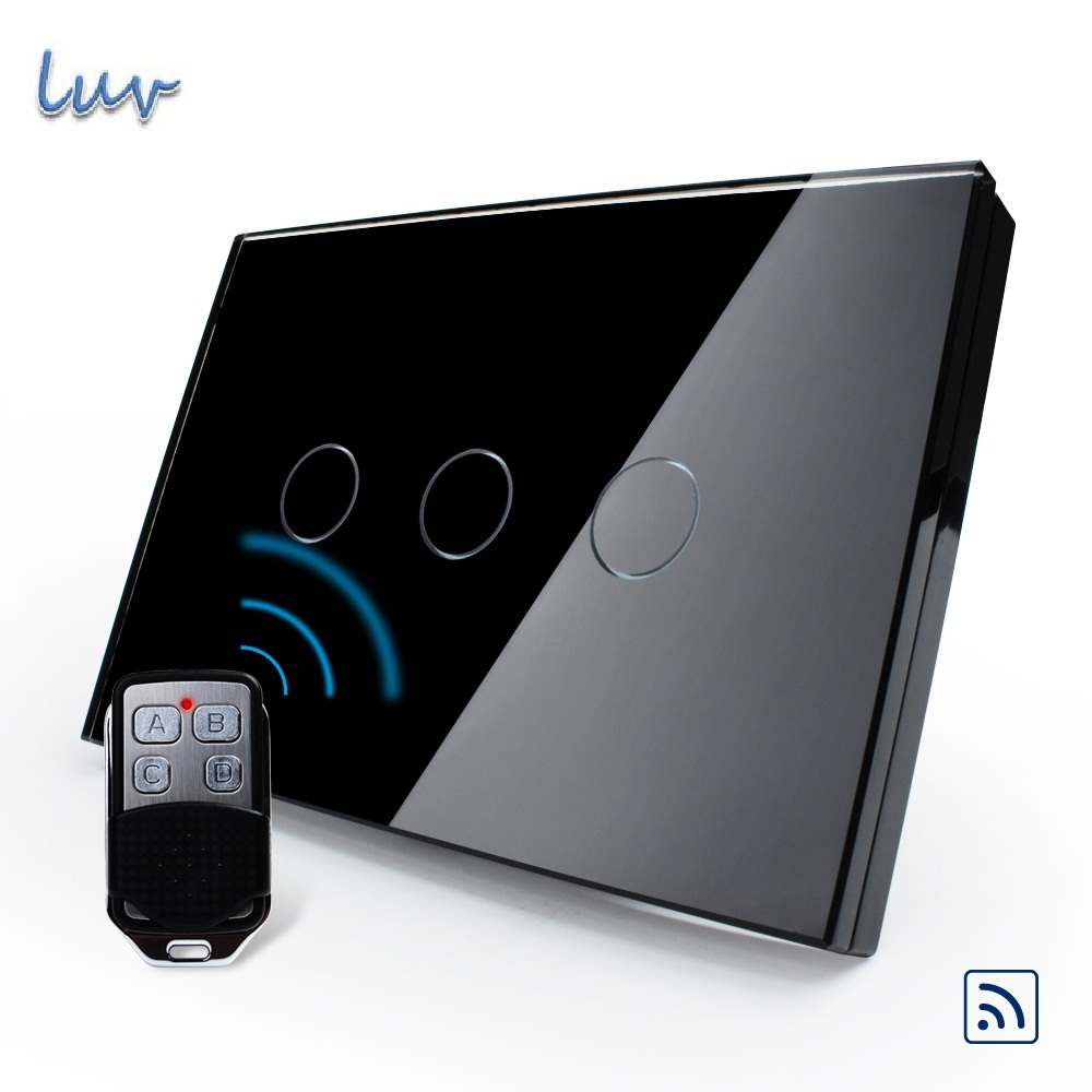US/AU, Wireless Switch, Black Pearl Crystal Glass Panel Remote Touch Screen Light Switch With Mini Remote,VL-C303R-82&VL-RMT-02 2017 smart home crystal glass panel wall switch wireless remote light switch us 1 gang wall light touch switch with controller