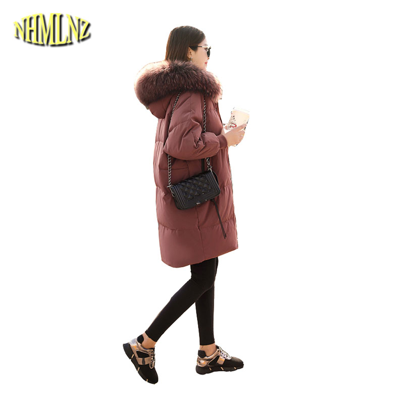 Winter Medium long Large size Warm Hooded Womens Down jacket 2018 New Fashion High-quality Comfortable Women Down jacket LH112