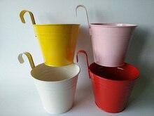 4Pcs/Lot Free Shipping D15*H18CM White Hanging Basket Metal Flower Pot Pink/Yellow/Red