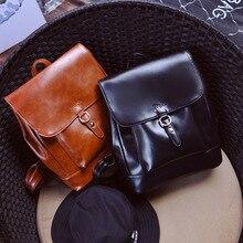 Маленькие твердые опрятный стиль сумка масло кожа мода дамы партии женщин кошелек известный дизайнер сумки девушки студент школы рюкзак