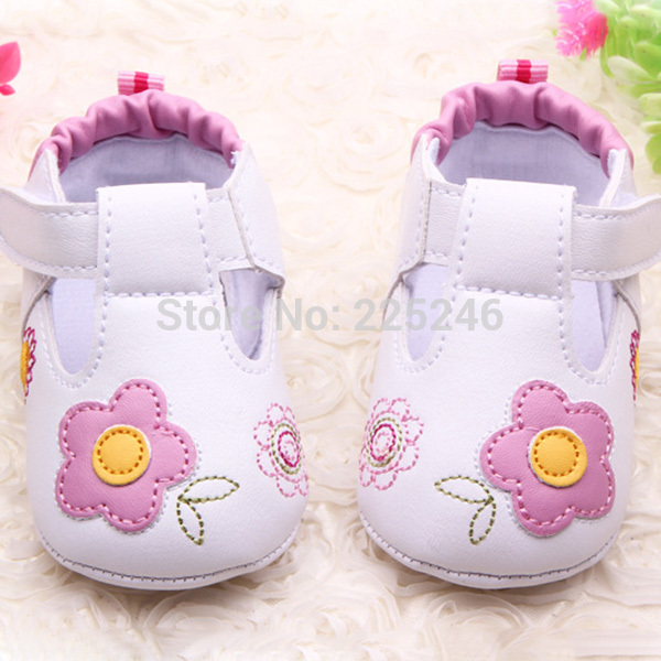 PU Leather Girls Kids Newborn Baby Flat First Walkers Shoes Princess printing -flower Soft Bottom Prewalker Shoes
