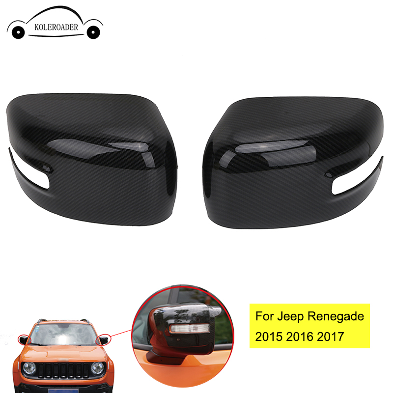 2x Carbon Fiber Grain ABS Rearview Mirror Trims Protection Side Mirror Cover For Jeep Renegade Latitude