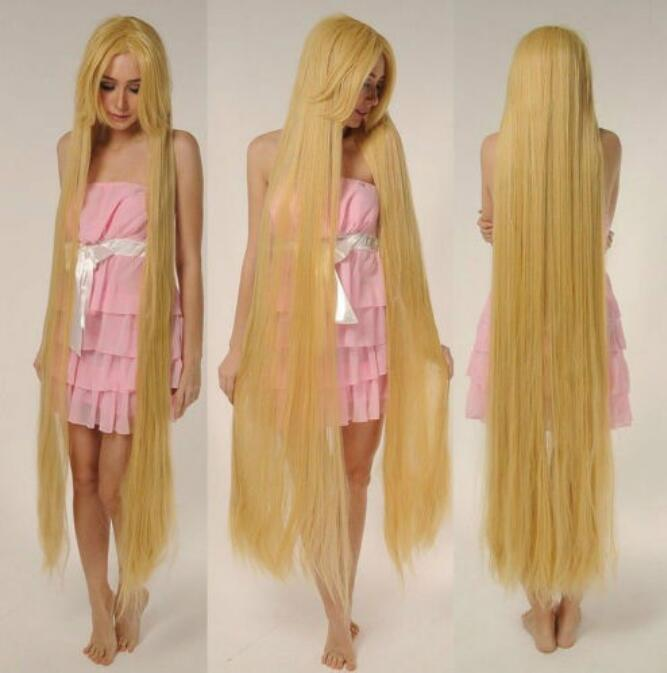 Jewelry Wig  Tangled Rapunze Super 150CM Long Wig Straight Blonde Cosplay Wig Full Hair Wig Free Shipping