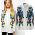 2015 Spring Summer Tops Women's Loose Printed Chiffon Shirts Blouses For Women blusa feminina camisas