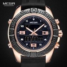 Megir hombres 12/24-horas Cronógrafo Negro Correa de Silicona Deportes Ejército Reloj de Cuarzo Relojes con Alarma Digital de luz de Fondo 2038
