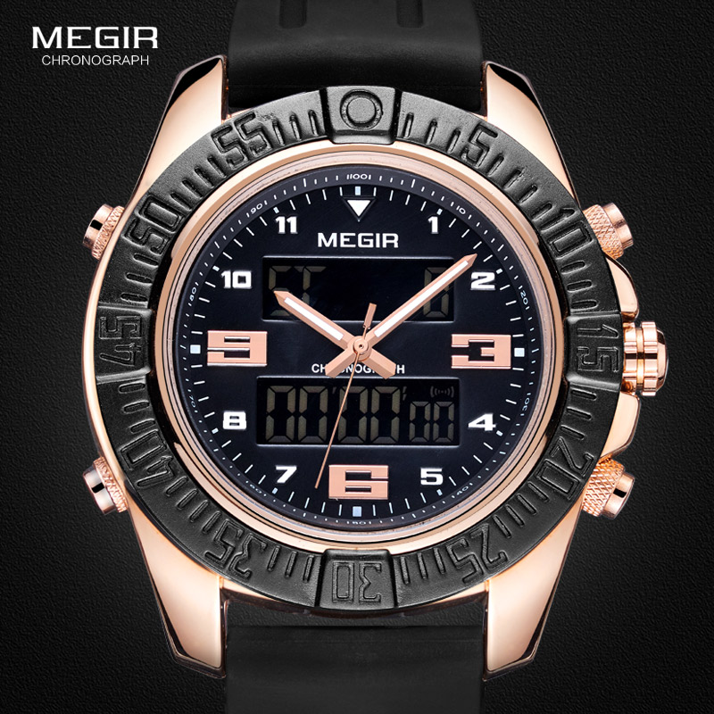 Megir Men's 12/24-hour Chronograph Black Silicone Strap Sports Backlight Digital Quartz Watches with Alarm Army Wristwatch 2038