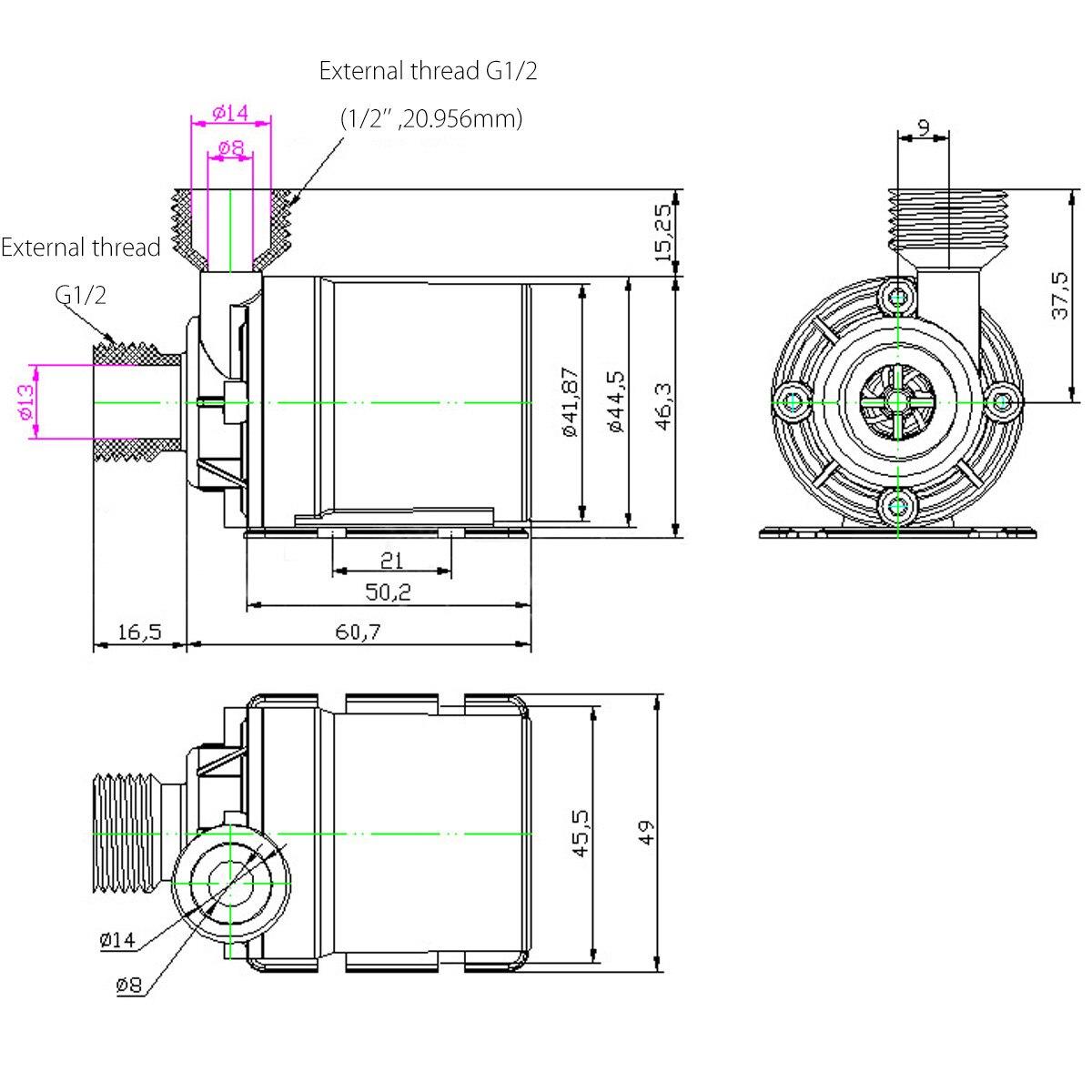 DC 12 В 5 м 800 л/ч Портативный Миниатюрный бесщёточный электродвигатель ультра-тихий погружной водяной насос для системы охлаждения фонтанов н...