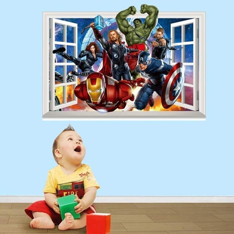 145x75cm 58x30in Avengers Children S Bedroom Self Adhesive Stickers Decorative Background Wall Home Decor