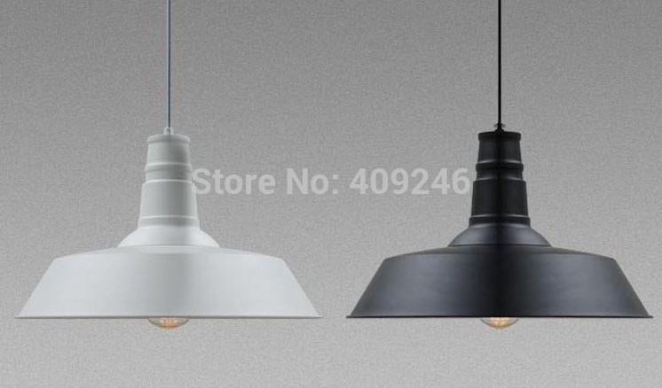 ФОТО 4PCS/LOT 36CM Edison Loft Restaurant Bar Nordic Countryside Industrial Iron Cover Pendant Droplight Black or White For Cafe Bar