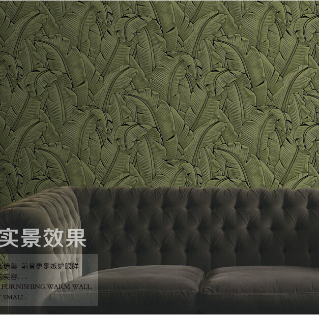 Southeast Banana Leaf Wallpaper 3D Thickening Flocking Non-woven Banana Leaf Background Wallpaper Roll Living Room Wall Paper non woven bubble butterfly wallpaper design modern pastoral flock 3d circle wall paper for living room background walls 10m roll