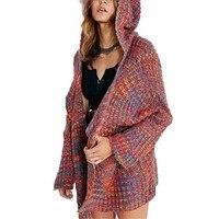 Contrast Colors Sweaters Women Batwing Sleeve Knitted Hooded Cardigans Wide Needles Knitwear Jumper Streetwear