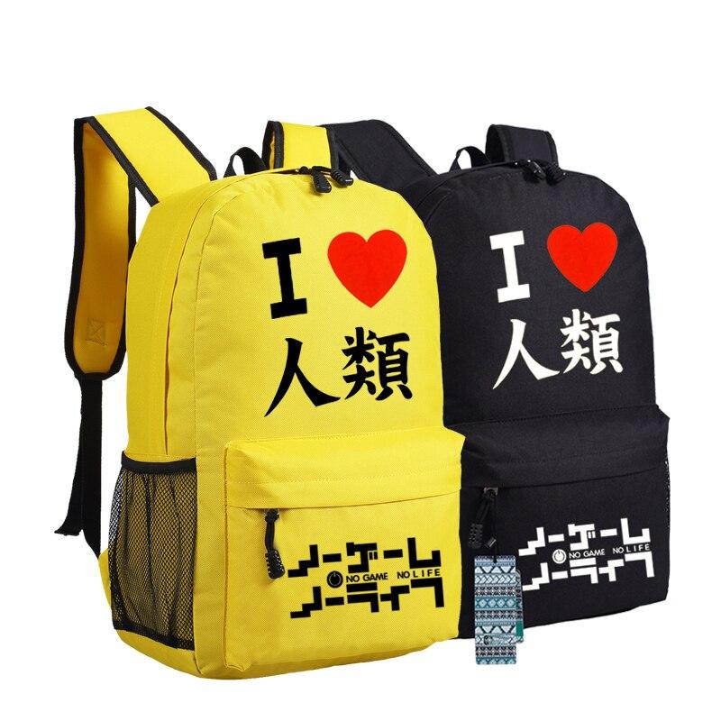 New Fashion No Game No Life Shoulder Bag Travel Laptop Backpack School Bags Oxford Students Bookbag