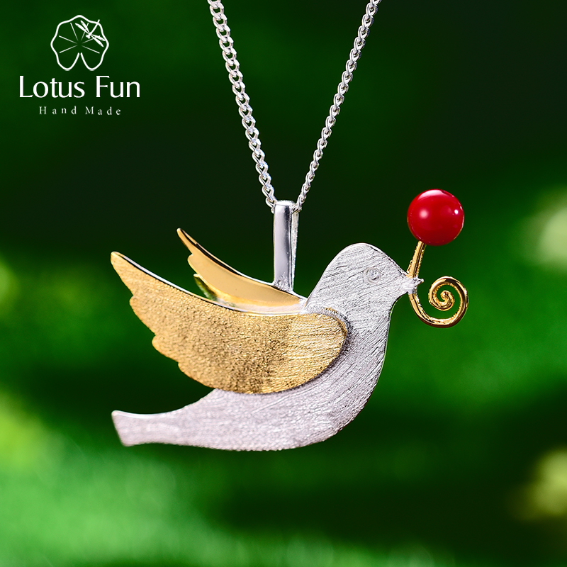 Lotus Fun Real 925 Sterling Silver Handmade Fine Jewelry Creative Flying Pigeon with Fruits Pendant without Necklace for WomenLotus Fun Real 925 Sterling Silver Handmade Fine Jewelry Creative Flying Pigeon with Fruits Pendant without Necklace for Women