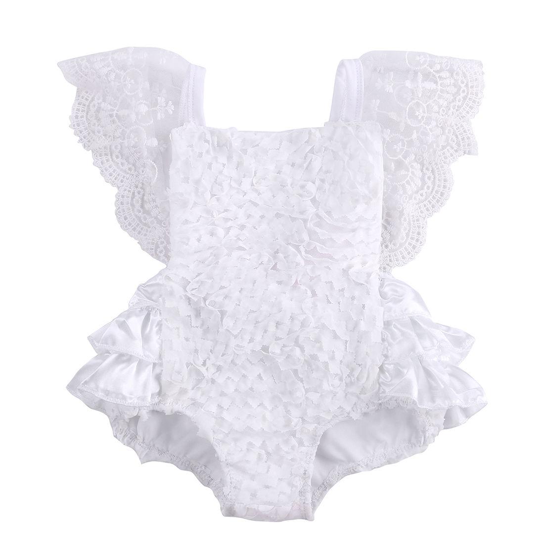 Tirred Baumwolle Bogen Nette Weiße Strampler Infant Baby Mädchen Kleidung Rüschen Baby Strampler Kuchen Sunsuit Outfits 0-18 Mt