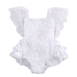 Tirred cotton bow cute white rompers infant baby girl clothes lace floral ruffles baby girl romper.jpg 250x250