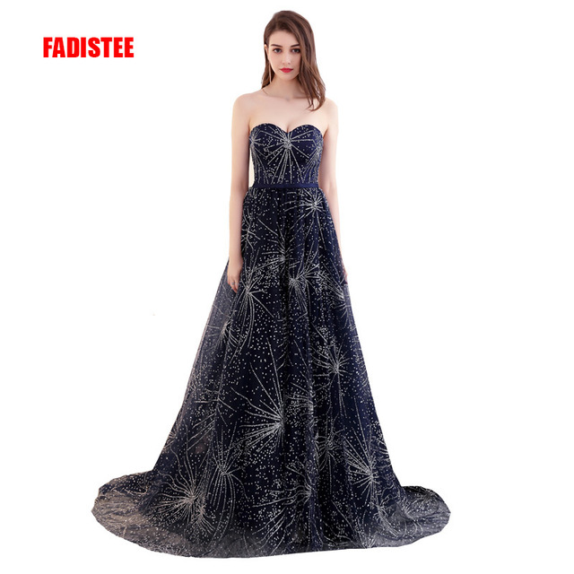 FADISTEE 2017 New arrival elegant party dress evening dresses Vestido de  Festa gown strapless sequins pattern long style dress 77fcbfcd086d