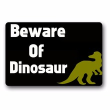 Entrance Floor Mat Non-slip Doormat Beware Of Dinosaur Door Outdoor Indoor Rubber Non-woven Fabric Top 15.7x23.6 Inch