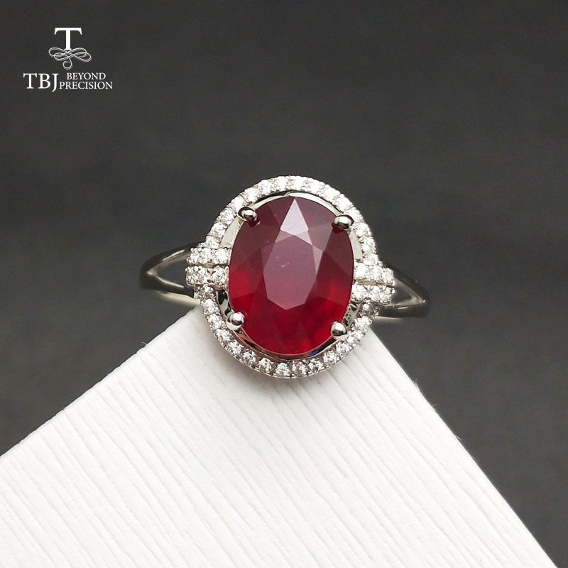 TBJ,Popular Genuine Ring with natural Ruby in 925 sterling silver gemstone jewelr for women & girls as a wedding valentines gift