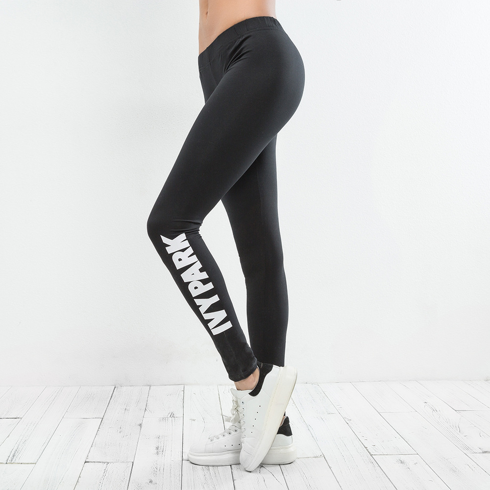 Top Quality 2019 Woman Sporting Pants Workout Fitness   Leggings   High Waist Black Brand IVY PARK Letter Print Skinny Casual