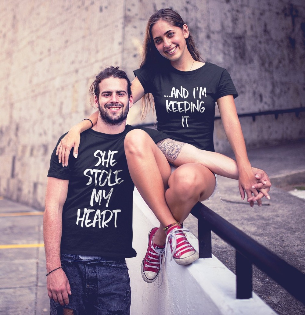 OMSJ New She Stole My Heart ...And I'm Keeping It Short Sleeve T-Shirt Valentine Funny Couples T Shirt Matching Couple Clothing