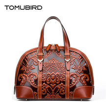 TOMUBIRD new Superior cowhide leather Designer Classic Ladies Embossed Floral Genuine Leather Tote Casual Shoulder Handbags
