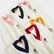 White Harajuku Sweet Embroidery Knitted Vest Women Color matching School V neck Gilet