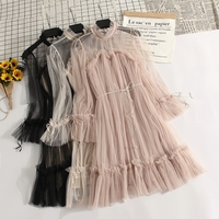 Women Flare Sleeve Pleated Tulle A line Lace Up Bandage Bow Dress Casual Slim High Waist Elastic Mesh Gauze Voile Ruffles Dress