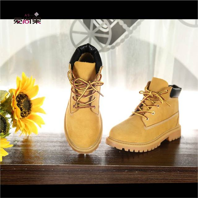 2016 european version genuine leather fashion girls boots martin boys boots children hiking shoes parent-child style